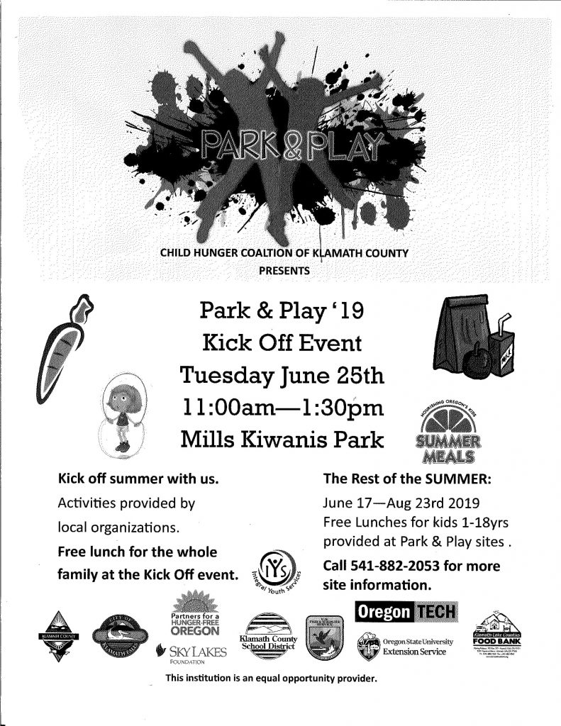 Park & Play Kick Off Event Tuesday, June 25th at Mills Kiwanis Park