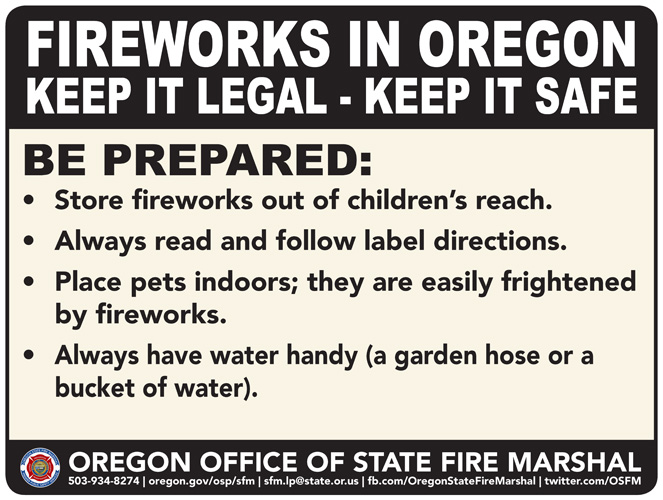 Oregonians Encouraged to Keep Fireworks Use Legal And Safe